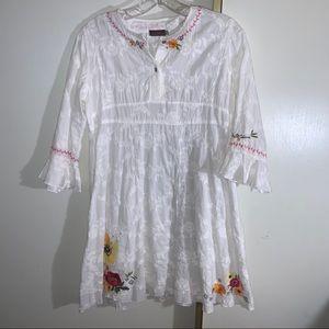 Catimini White Flower Embroidered Dress